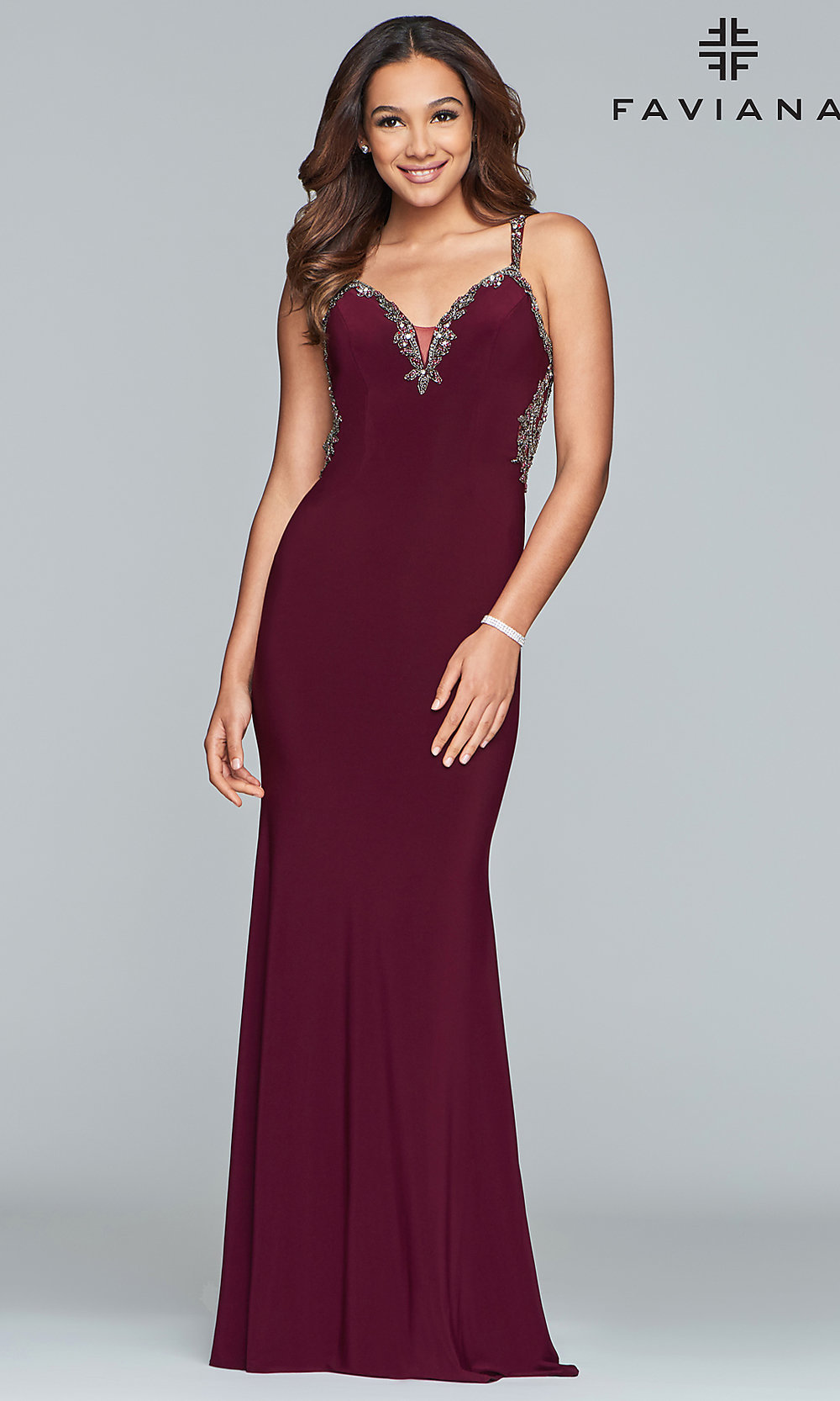 9b6dc7c81cd Faviana Sleeveless V-Neck Prom Dress