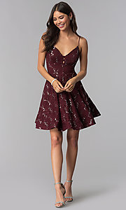 Image of sequin-lace short a-line homecoming party dress. Style: SS-D71161HJL Detail Image 2