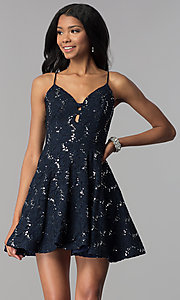 Image of sequin-lace short a-line homecoming party dress. Style: SS-D71161HJL Detail Image 3