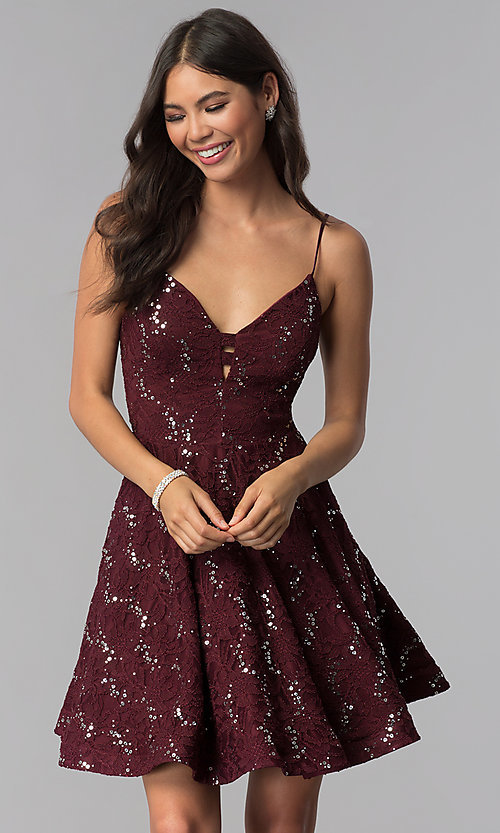 Image of sequin-lace short a-line homecoming party dress. Style: SS-D71161HJL Front Image