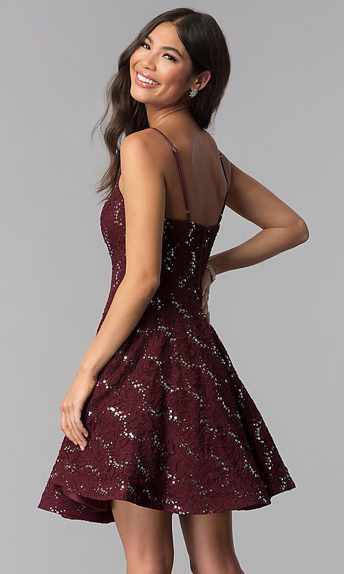 Image of sequin-lace short a-line homecoming party dress. Style: SS-D71161HJL Back Image