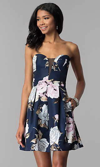 Strapless Short Print Homecoming Dress with Pockets