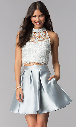 Homecoming Two-Piece White and Silver Party Dress