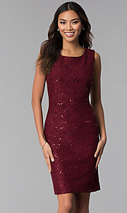 Image of wine red MOB sequin-lace dress with jacket. Style: SD-S287170 Detail Image 1