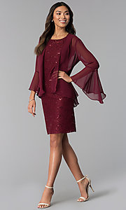 Image of wine red MOB sequin-lace dress with jacket. Style: SD-S287170 Detail Image 3