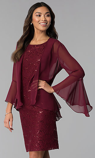 Wine Red MOB Sequin-Lace Dress with Jacket