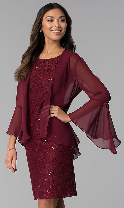 Image of wine red MOB sequin-lace dress with jacket. Style: SD-S287170 Front Image