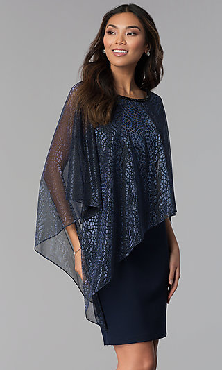 Attached-Lame-Cape Short Navy Blue MOB Dress