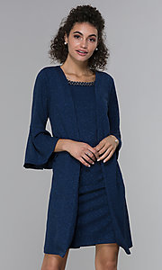 Image of glitter-knit short navy MOB dress with jacket. Style: SD-S287060 Front Image