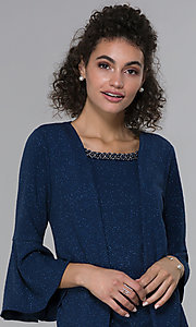 Image of glitter-knit short navy MOB dress with jacket. Style: SD-S287060 Detail Image 1