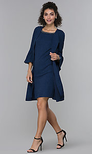 Image of glitter-knit short navy MOB dress with jacket. Style: SD-S287060 Detail Image 3