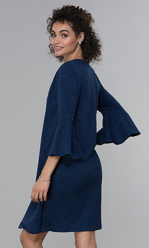 Image of glitter-knit short navy MOB dress with jacket. Style: SD-S287060 Back Image