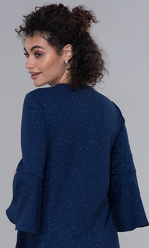 Image of glitter-knit short navy MOB dress with jacket. Style: SD-S287060 Detail Image 2