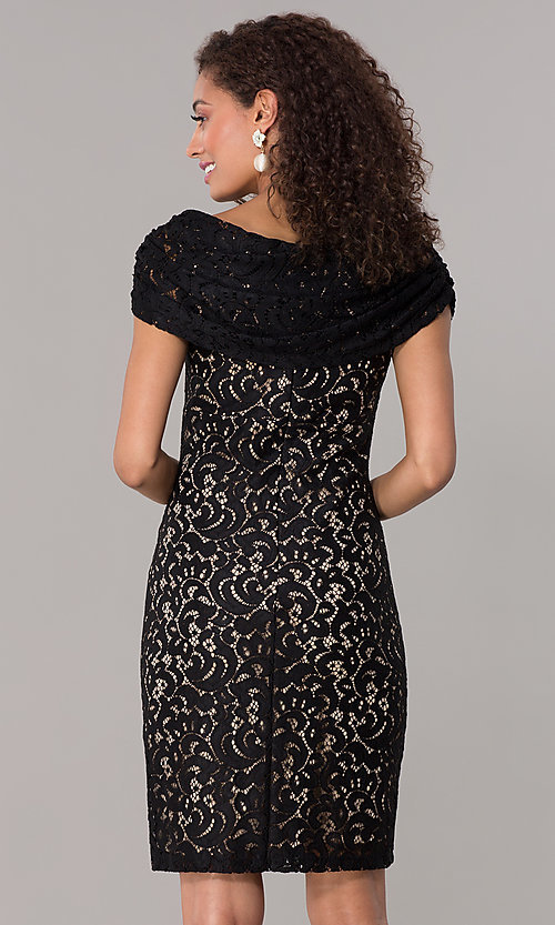 28eaa8257c92 Image of black lace off-shoulder short wedding-guest dress. Style  SD