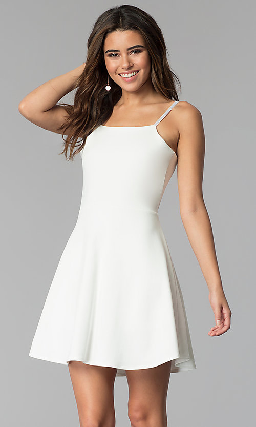 Image of simple short a-line graduation party dress. Style: CH-3075 Front Image