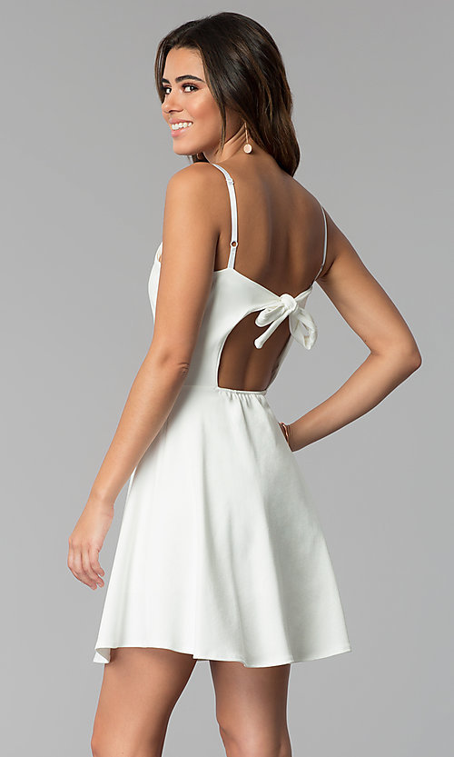 Image of simple short a-line graduation party dress. Style: CH-3075 Back Image
