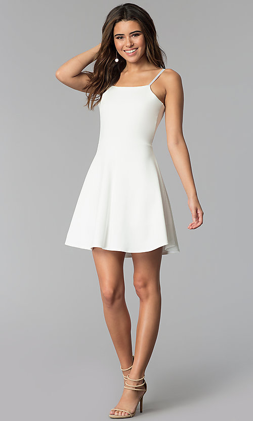 Image of simple short a-line graduation party dress. Style: CH-3075 Detail Image 2