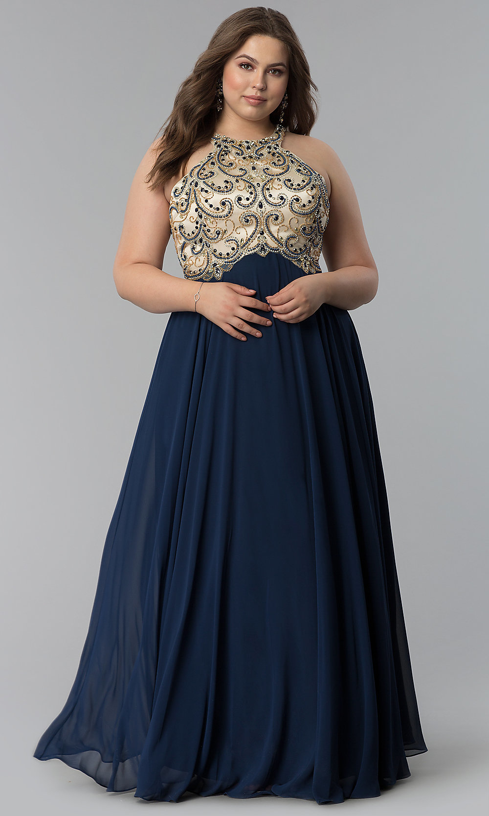 Beaded-Bodice Long Plus-Size Prom Dress