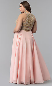 Image of plus-size beaded-bodice long prom dress. Style: DQ-9776P Back Image