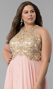Image of plus-size beaded-bodice long prom dress. Style: DQ-9776P Detail Image 1