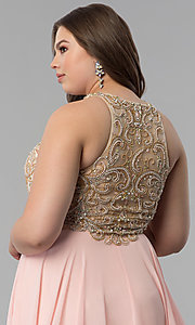 Image of plus-size beaded-bodice long prom dress. Style: DQ-9776P Detail Image 2