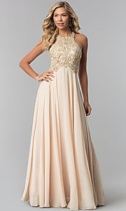 Image of plus-size beaded-bodice long prom dress. Style: DQ-9776P Detail Image 7