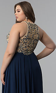 Image of plus-size beaded-bodice long prom dress. Style: DQ-9776P Detail Image 6