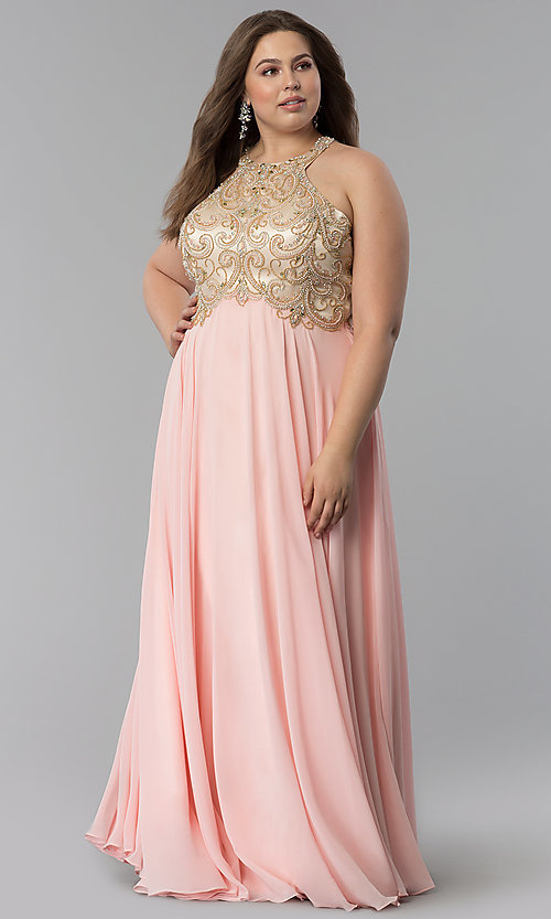 Image of plus-size beaded-bodice long prom dress. Style: DQ-9776P Front Image