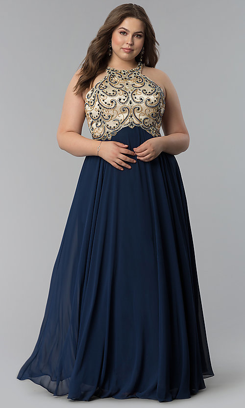 Plus-Size Beaded-Bodice Long Prom Dress