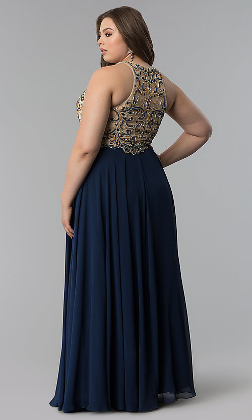 Image of plus-size beaded-bodice long prom dress. Style: DQ-9776P Detail Image 4