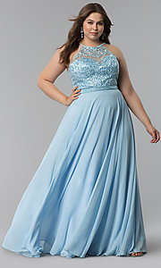 Image of long plus-size embellished-bodice prom dress. Style: DQ-2092P Detail Image 2
