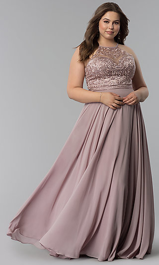 9d45849e1a96a Long Plus-Size Embellished-Bodice Prom Dress
