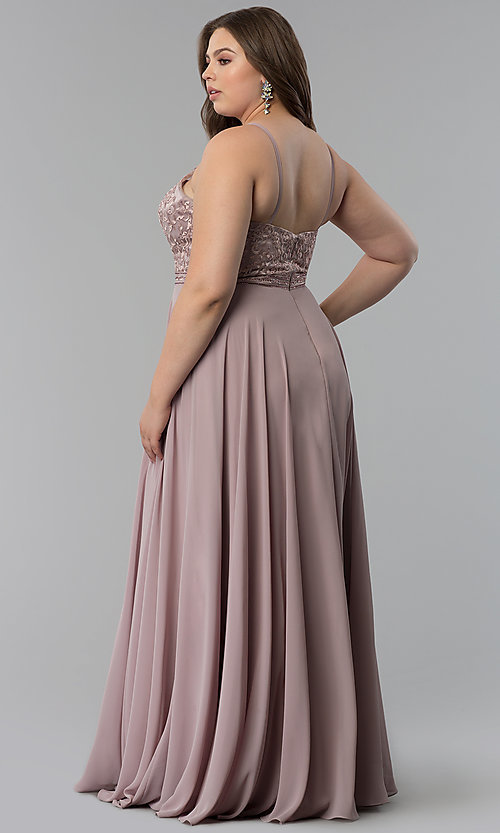 Image of long plus-size embellished-bodice prom dress. Style: DQ-2092P Back Image