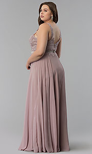 Image of lace-bodice long chiffon plus-size prom dress.  Style: DQ-2161P Back Image