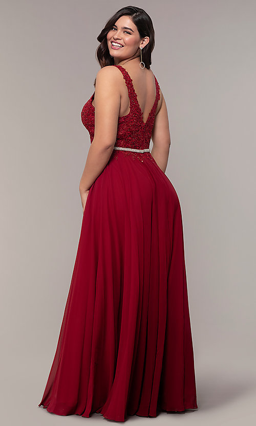 Image of lace-bodice long chiffon plus-size prom dress.  Style: DQ-2161P Detail Image 2