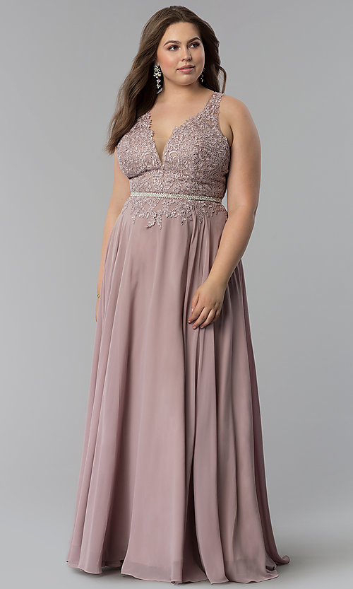 Image of lace-bodice long chiffon plus-size prom dress.  Style: DQ-2161P Front Image