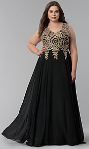 Image of beaded-lace-applique v-neck plus-size prom dress. Style: FB-GL2311P Detail Image 3
