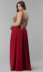 Image of beaded-lace-applique v-neck plus-size prom dress. Style: FB-GL2311P Detail Image 7