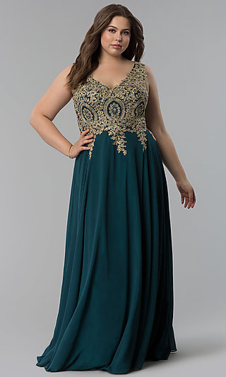 Beaded-Lace-Applique V-Neck Plus-Size Prom Dress