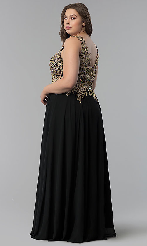 Image of beaded-lace-applique v-neck plus-size prom dress. Style: FB-GL2311P Detail Image 4