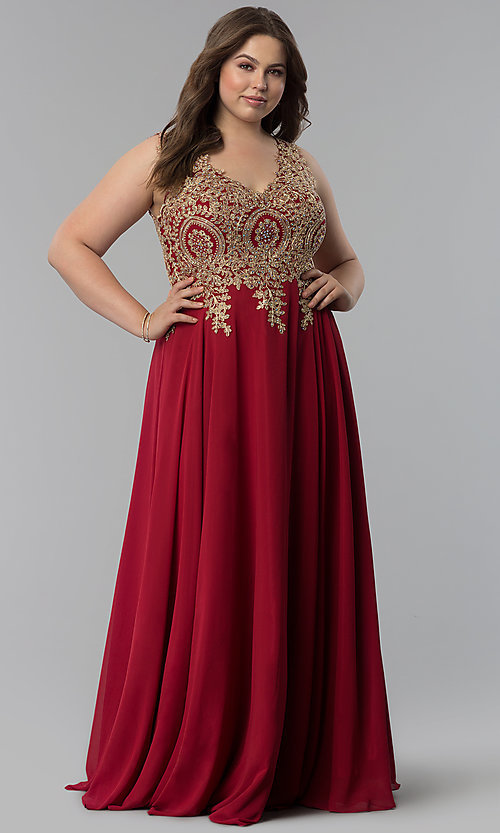 Image of beaded-lace-applique v-neck plus-size prom dress. Style: FB-GL2311P Detail Image 2