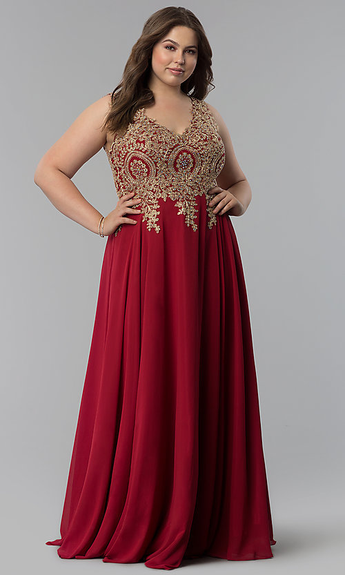 Image of beaded-lace-applique v-neck plus-size prom dress. Style: FB-GL2311P Detail Image 6