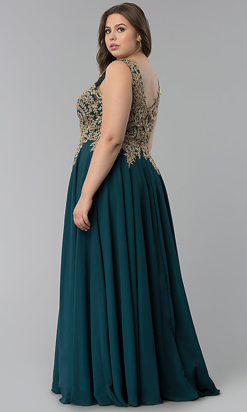 Image of beaded-lace-applique v-neck plus-size prom dress. Style: FB-GL2311P Back Image