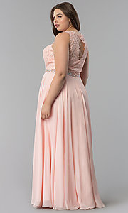 Image of beaded-lace-applique plus-size long prom dress. Style: FB-GL2417P Detail Image 2