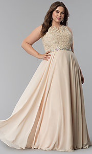 Image of beaded-lace-applique plus-size long prom dress. Style: FB-GL2417P Detail Image 3