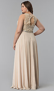 Image of beaded-lace-applique plus-size long prom dress. Style: FB-GL2417P Detail Image 4