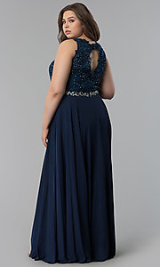 Image of beaded-lace-applique plus-size long prom dress. Style: FB-GL2417P Back Image