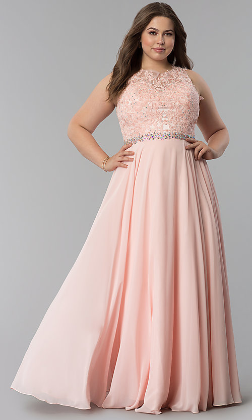 Image of beaded-lace-applique plus-size long prom dress. Style: FB-GL2417P Detail Image 1