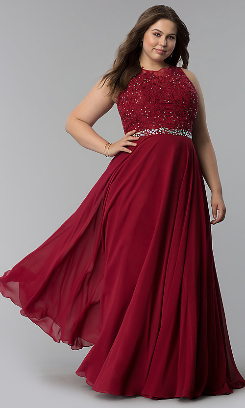 Beaded Lace Applique Long High Neck Plus Prom Dress