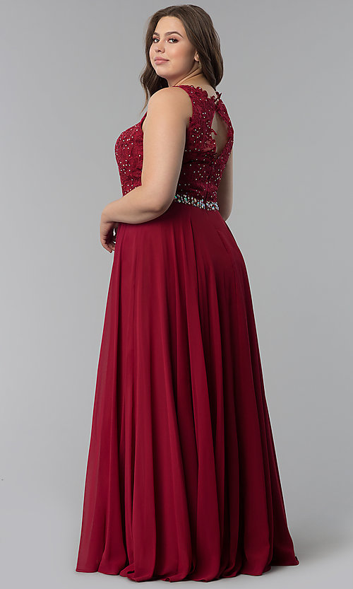 f784acd98f7 Image of beaded-lace-applique plus-size long prom dress. Style